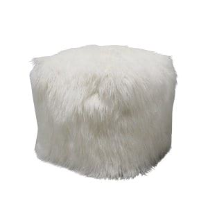 White Faux Fur Pouf