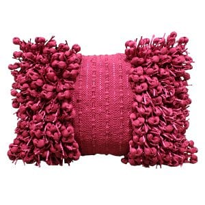 Fuchsia Fringe Knotted Pillow