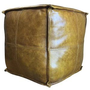 Camel Leather Pouf