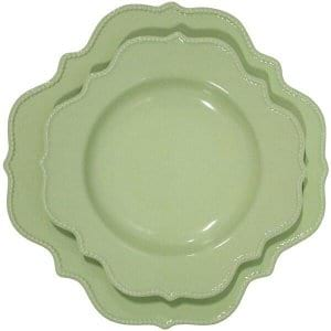 Green Scalloped Plates