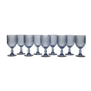 Dusky Blue Diamond Pattern Goblet- Bulk