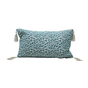 Teal Pillow with Leopard Print