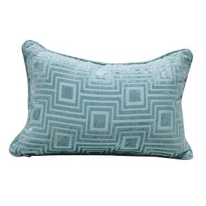 Teal Pillow with Labyrinth Pattern