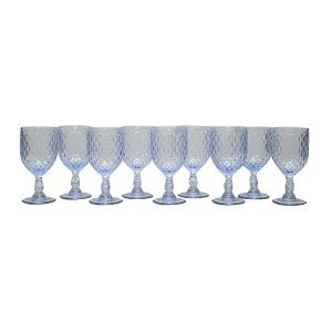Ice Blue Diamond Pattern Goblet - Bulk