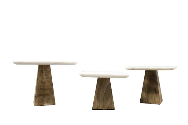Marble/Wood Cake Stand Set