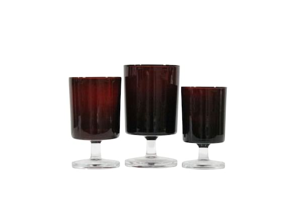 Cranberry Stemware Set