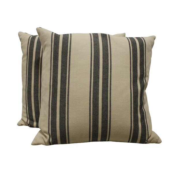 Black Striped Linen Pillow