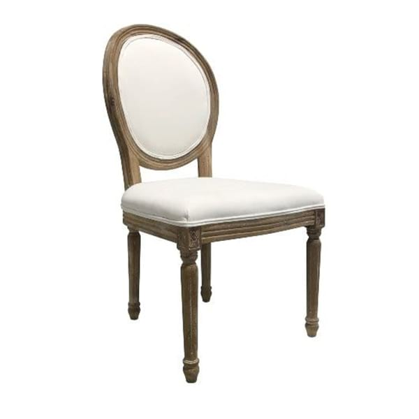 Davis - Oval Back Chair (white fabric)