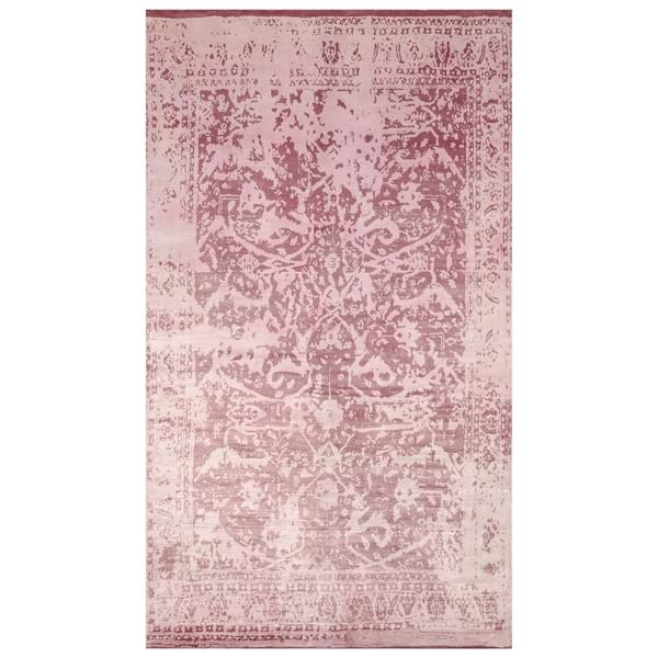 Light Pink Hand-Knotted Wool Rug - One of a Kind