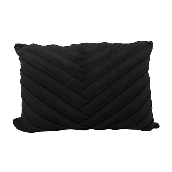Black Pleated Lumbar Pillow