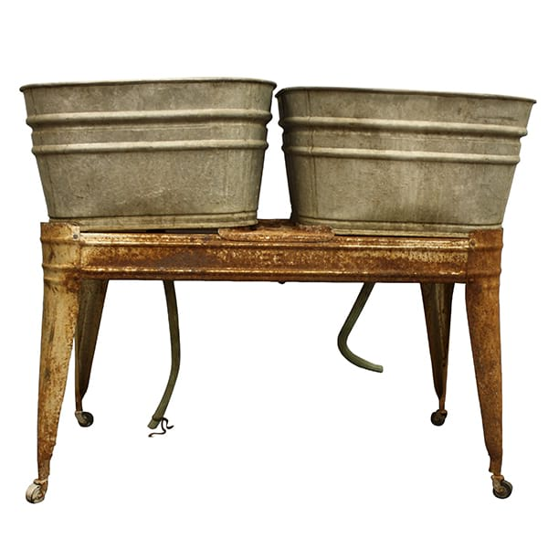 Galvanized 2 Tub Wash Stand