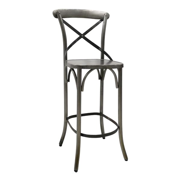 Crossback Metal Bar Stool