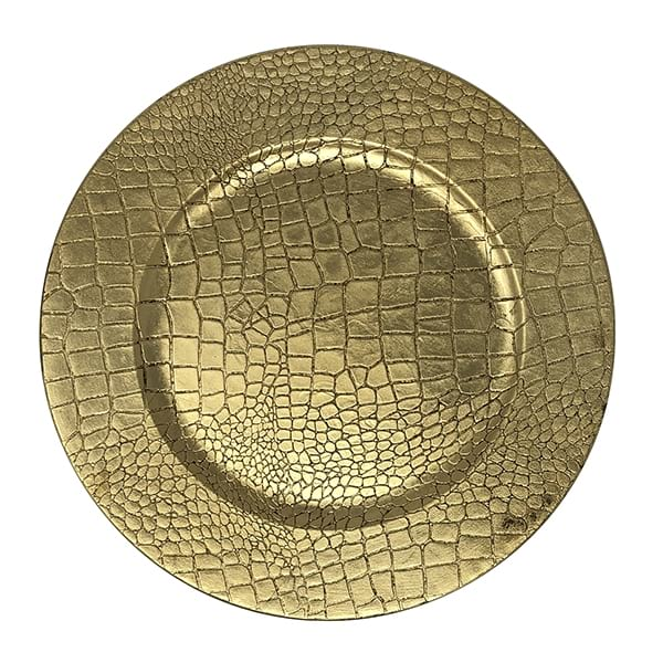 Gold Reptile Print Chargers