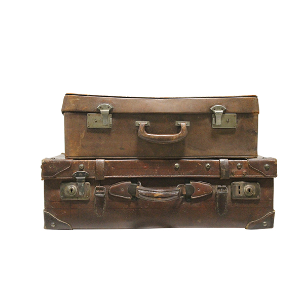 Distressed Leather Suitcases (Pair)
