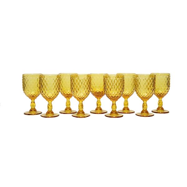 Dark Amber Diamond Pattern Goblet - Bulk