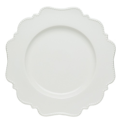 White Scalloped Pin Dot - Salad Plate