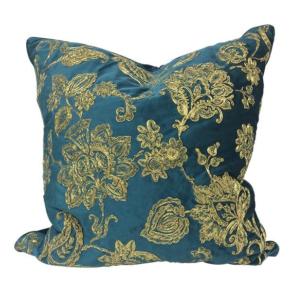 Stef Teal & Gold Pillow