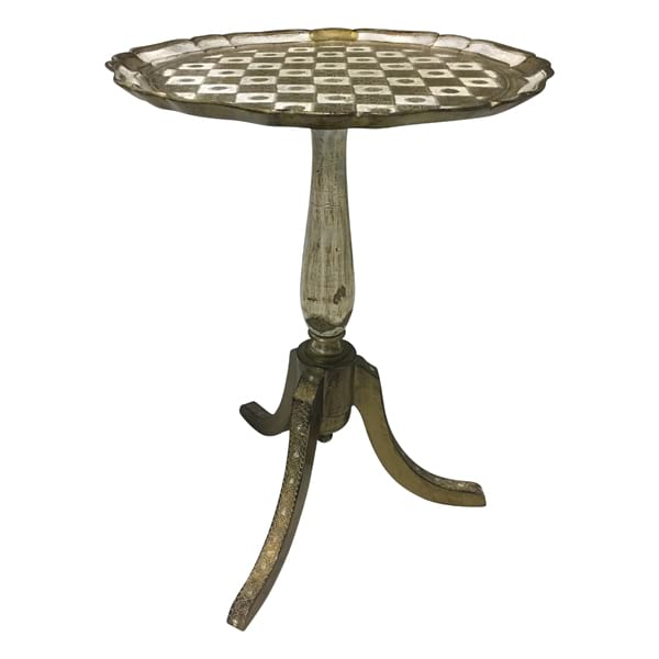 Florentine Pedestal Side Table - Checker