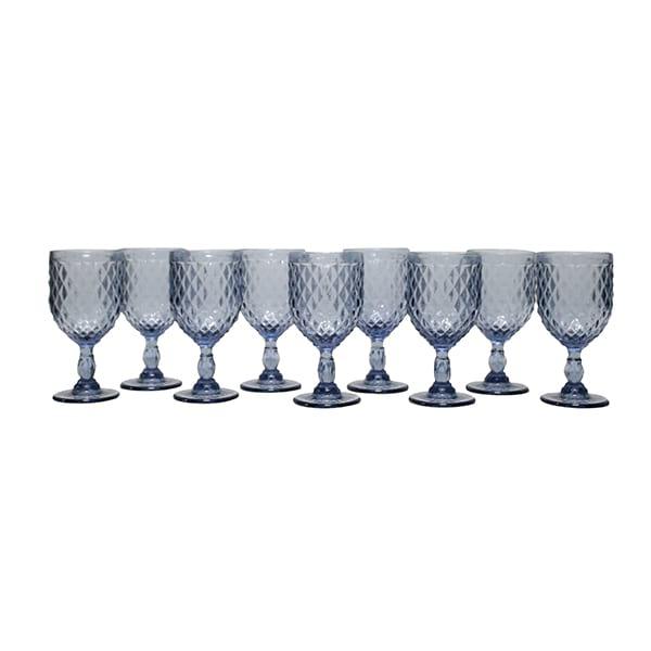 Dusky Blue Diamond Pattern Goblet- Bulk