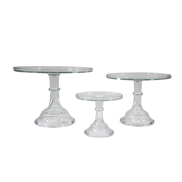 Tall Clear Glass Cake Stand- Set