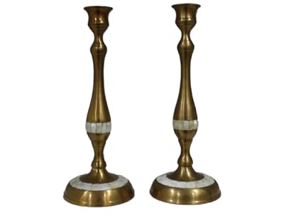 Mother of Pearl Candlesticks-Pair