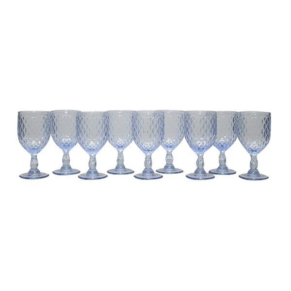 Ice Blue Diamond Pattern Goblet - Bulk