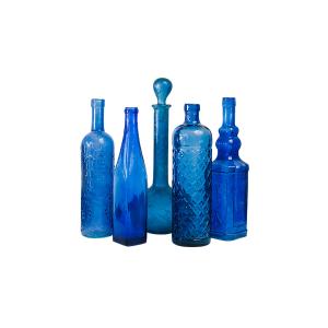 Mismatched Cobalt Glass Bottles and Vases