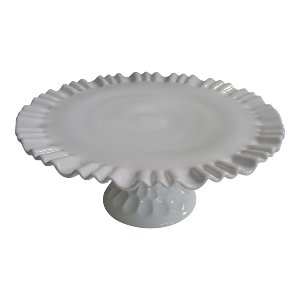 White Milk Glass Pedestal Cake Stand
