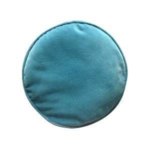 Round Turquoise Velvet Accent Pillow