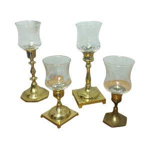 Mismatched Clear Glass Votive Cups