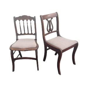 Grey Upholstered Seat Wood Sweetheart Chairs