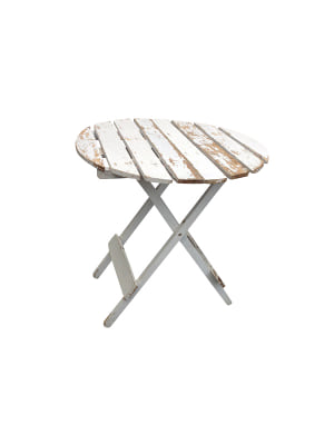 Chippy White Patio Side Table