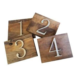 Wood Glitter Table Numbers