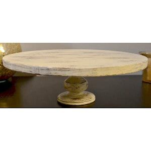 White Distressed Pedestal Cake Stand