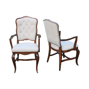 Cream Upholstered Sweetheart Chair