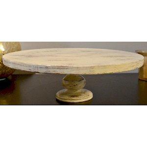 White Distressed Pedestal Cake Stand