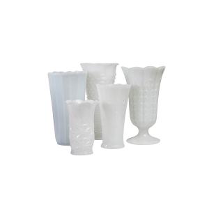Milk Glass Vases - Medium and Large