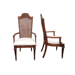 Cane Back Wreath Upholstered Seat Chairs (with Arms)