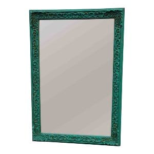 Teal Framed Mirror