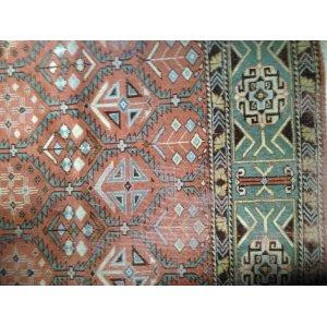 Mint Green & Coral Persian Rug