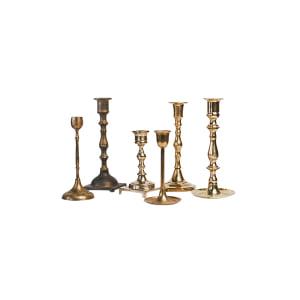 Mismatched Brass Candlesticks