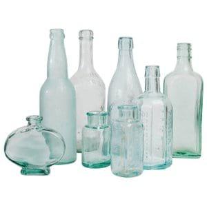Aqua Glass Vintage Bottles
