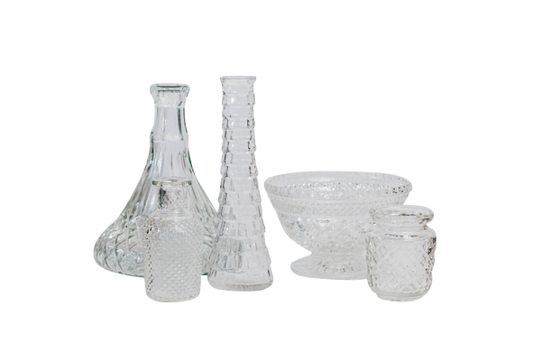 Clear Textured Glass Vessels